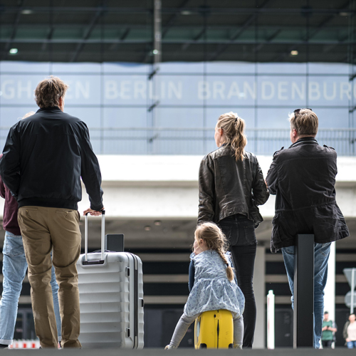 Family in front of T1 at BER airport
