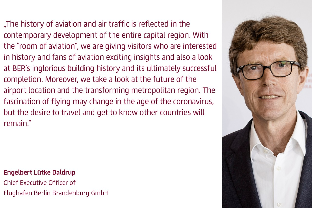 Engelbert Lütke Daldrup, Chief Executive Officer of Flughafen Berlin Brandenburg GmbH, on the opening of the exhibition
