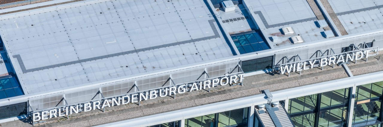 BER Terminal 1 lettering aerial view
