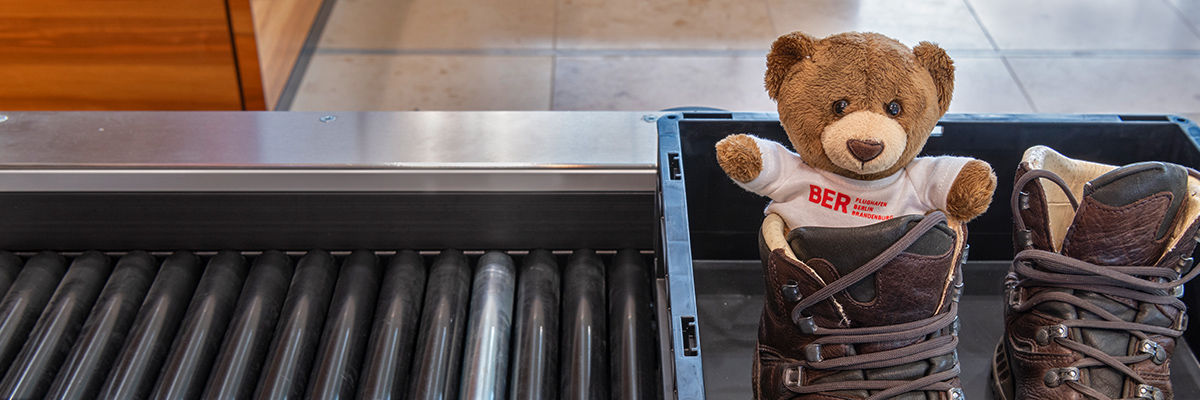 Teddy at the security check